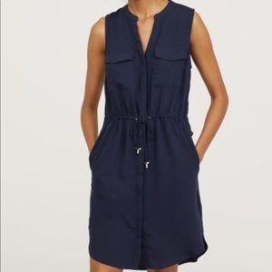 Navy V-Neck buttondown Sleeveless Drawstring Dress
